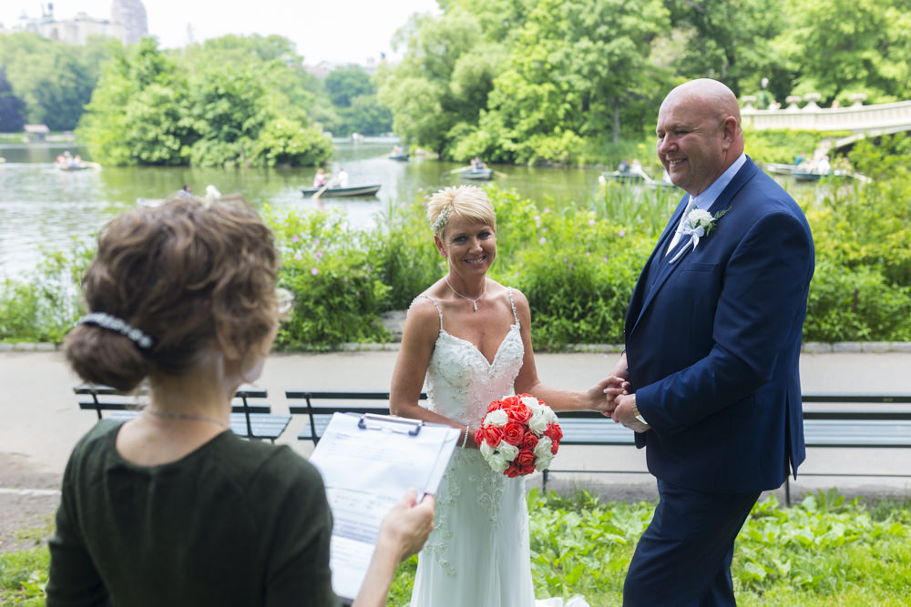 Wedding Officiant by the Bow Bridge in Central Park