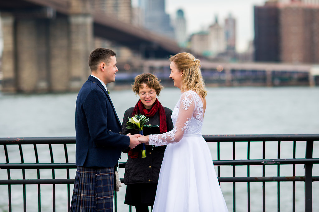 Brooklyn Bridge Park's boardwalk offers a beautiful scenic background for your wedding ceremony.
