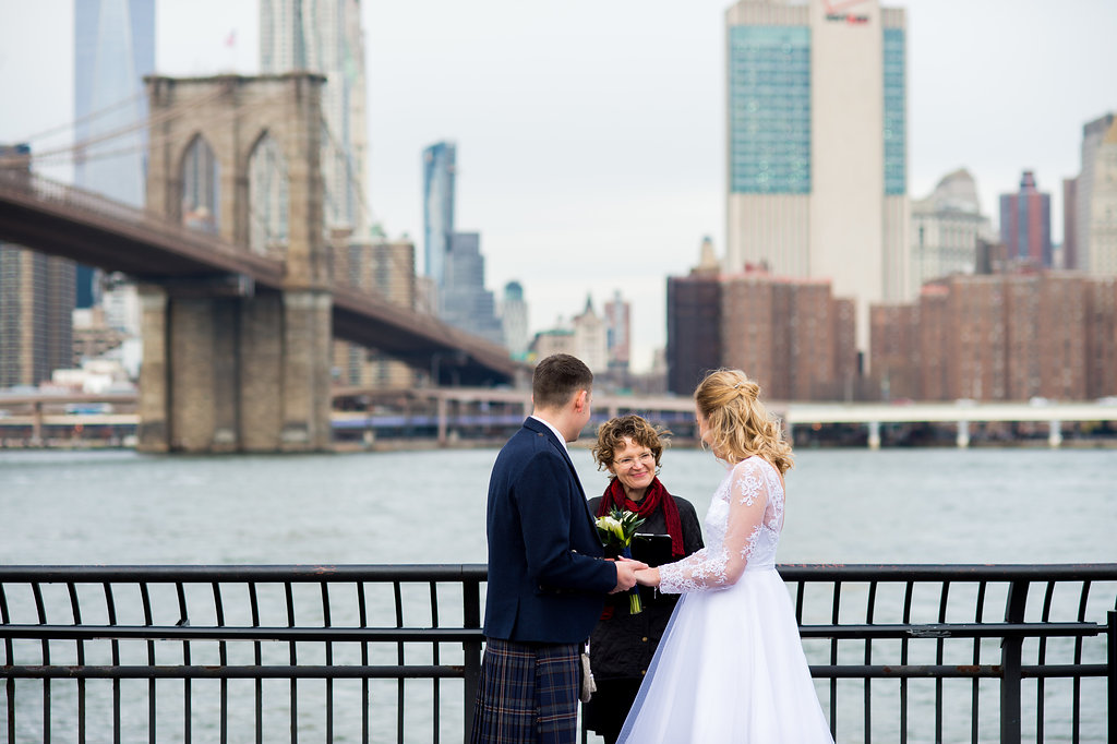 If you get married in Brooklyn, why not have the elegant and historic Brooklyn Bridge is the background!