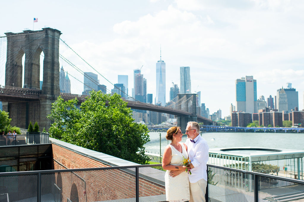 Now remodeled, the building with shops by the Jane Carousel in Brooklyn offers a rooftop with fantastic views for your Brooklyn wedding ceremony and photos.